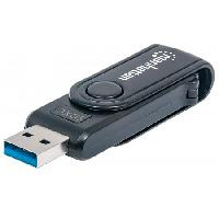 MINI LECTOR Y GRABADOR EXTERNO DE TARJETAS USB 3.0 24 EN 1 PORTTIL MANHATTAN