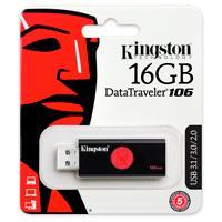 MEMORIA KINGSTON 16GB USB 3.0 ALTA VELOCIDAD / DATATRAVELER 106 NEGRO/ROJO