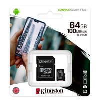 MEMORIA KINGSTON MICRO SD CANVAS SELECT PLUS 64GB UHS-I CLASE 10 C/ADAPTADOR