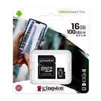 MEMORIA KINGSTON MICRO SD CANVAS SELECT PLUS 16GB UHS-I CLASE 10 C/ADAPTADOR