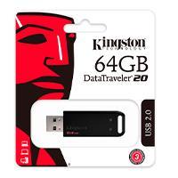 MEMORIA KINGSTON 64GB USB 2.0 ALTA VELOCIDAD / DATATRAVELER 20 NEGRO
