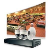 Kit de seguridad Samsung con DVR SRN-437S de 4 canales, 2 cámaras IP tipo Domo SND-L6013R y 1 cámara tipo ojo de pescado, Incluye disco duro de 1 TB.