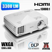 VIDEOPROYECTOR BENQ DLP MW529 WXGA 3300 LUMENES 10000 HORAS TIRO NORMAL HDMI BENQ 9H.JFD77.13L