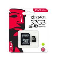 MEMORIA KINGSTON MICRO SDHC CANVAS SELECT 32GB UHS-I CLASE 10 C/ADAPTADOR