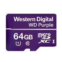 MEMORIA WD 64GB MICRO SDXC PURPLE VIDEOVIGILANCIA 24 / 7  CLASE 10 LECT 80MB / S ESC 50MB / S WD - W