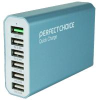 CARGADOR USB PERFECT CHOICE MULTIPLE DE 6 PUERTOS 2.4A CON QUICK CHARGE