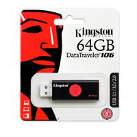 MEMORIA KINGSTON 64GB USB 3.0 ALTA VELOCIDAD / DATATRAVELER 106 NEGRO/ROJO