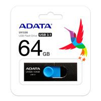MEMORIA ADATA 64GB USB 3.1 UV320 RETRACTIL NEGRO-AZUL