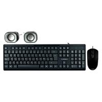 KIT TECLADO ESTANDAR + MOUSE ALAMBRICO + BOCINAS 2.0 USB/COLOR NEGRO/TB-924856