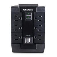 SUPRESOR DE PICOS CYBERPOWER (P600WSURC1),SUPRESION DE 1,200 J, 6 TOMAS NEMAS 5-15R, 2 PUERTO USB 2.4.