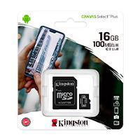 MEMORIA KINGSTON MICRO SD CANVAS SELECT PLUS 16GB UHS-I CLASE 10 C/ADAPTADOR