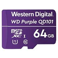 MEMORIA WD 64GB MICRO SDXC PURPLE SC QD101 VIDEOVIGILANCIA 24/7 CLASE 10 U1 LECT 50MB/S ESC 40MB/S