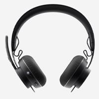 AUDIFONOS CON MICROFONO TIPO DIADEMA LOGITECH ZONE WIRELESS PLUS COLOR NEGRO SUPRESIÓN ACTIVA BLUETOOTH USB UNIFYING RECARGABLES QI CONTROL DE AUDIO INTEGRADO