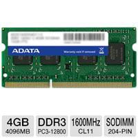 MEMORIA ADATA SODIMM DDR3 4GB PC3-12800 1600MHZ CL9 204PIN 1.50V P / LAPTOP ADATA AD3S1600W4G11-S
