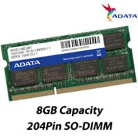 MEMORIA ADATA SODIMM DDR3L 8GB PC3L-12800 1600MHZ CL11 204PIN 1.35V P / LAPTOP ADATA ADDS1600W8G11-S
