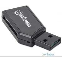MINI LECTOR DE MEMORIAS MANHATTAN 24 EN 1, USB 2.0 NEGRO MANHATTAN 101677