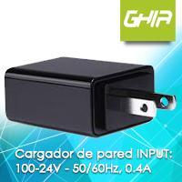 MINI CARGADOR DE PARED USB A MICRO USB GHIA 100-24V 50 / 60Hz 0.4A NEGRO GHIA N/A