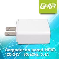 CARGADOR DE PARED USB A MICRO USB GHIA 100-24V 50 / 60Hz 0.4A BLANCO GHIA N/A