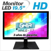 GHIA MONITOR LED MG2016 19.5 WS HD NEGRO VGA  /  BOCINAS ESTEREO INTEGRADAS GHIA MG2016