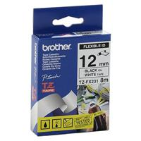 CINTA BROTHER TZEFX231 FLEXIBLE NEGRO SOBRE BLANCO DE 12MM BROTHER TZEFX231