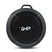 BOCINA BLUETOOTH STORM WATERPROOF GHIA NEGRA 3W RMS AUX 3.5MM RADIO FM MICRO SD CARD GHIA GAC-063