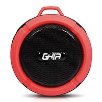 BOCINA BLUETOOTH STORM WATERPROOF GHIA ROJA 3W RMS AUX 3.5MM RADIO FM MICRO SD CARD GHIA GAC-064