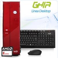 GHIA DESKTOP AMD KABINI E1-2100 X2 1.0 GHZ/2GB/500GB/LECTOR 6 EN 1/SFF-ROJO