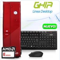 GHIA DESKTOP AMD KABINI E1-2100 X2 1.0 GHZ/4GB/500GB/DVD+RW/LM 6 EN 1/SFF-R