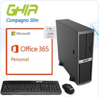 GHIA COMPAGNO SLIM / INTEL PENTIUM G4400 DUAL CORE 3.30 GHZ / 4 GB / SSD 32 GB / 1TB EN ONE DRIVE X UN AÑO / SFF-N / WINDOWS 10 HOME OFFICE 365 X 1 AÑ